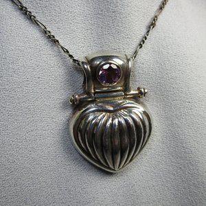 Vintage Silver Heart Amethyst Pendant